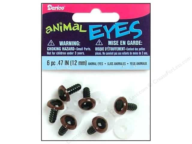 Darice Eyes Animal 12mm with Washer Brown 6pc (3 packages)