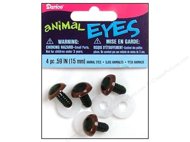 Darice Animal Eyes with Plastic Washers 15 mm Brown 4 pc. (3 packages)