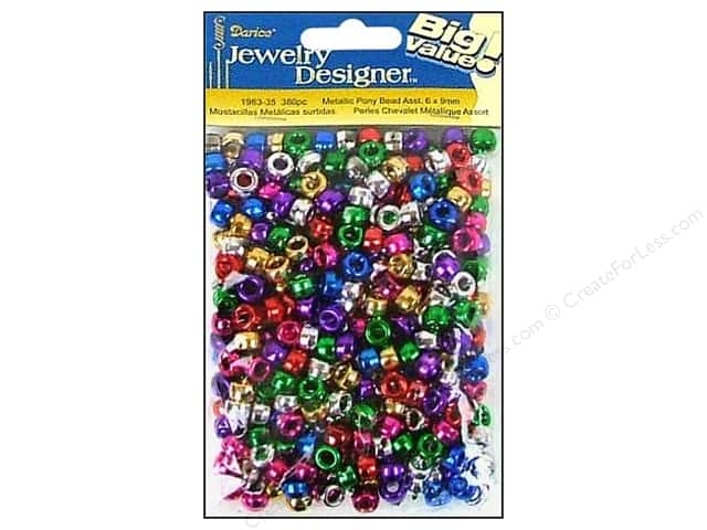 Darice Beads Jewelry Designer Pony Metallic 6x9mm Assorted 380pc