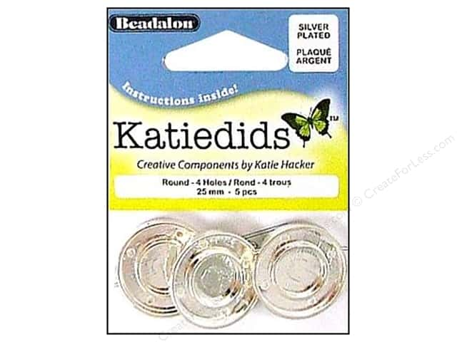 Beadalon Katiedids Round 25 mm 4 Hole Silver Plated 5 pc.