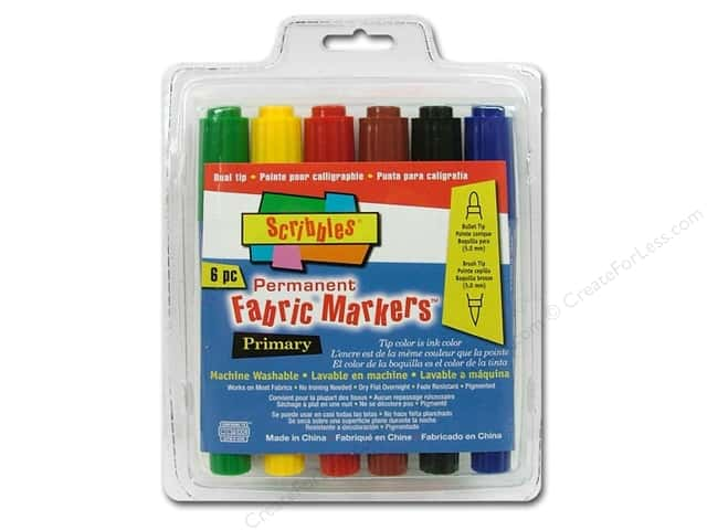 Scribbles Fabric Marker Dual Tip Permanent Primary 6pc
