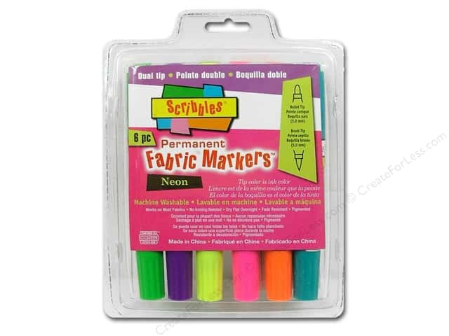 Scribbles Fabric Marker Dual Tip Permanent Neon 6pc