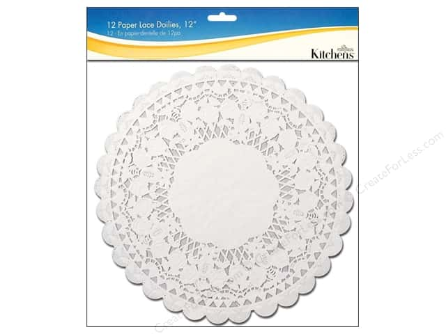 "Fox Run Craftsmen Paper Doily 12"" Round 12 pc White"
