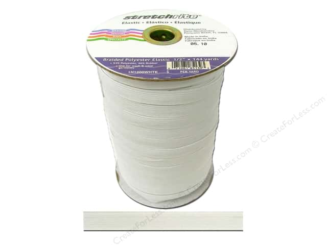Stretchrite Braided Elastic Flat 1/2 in. x 144 yd White (144 yards)