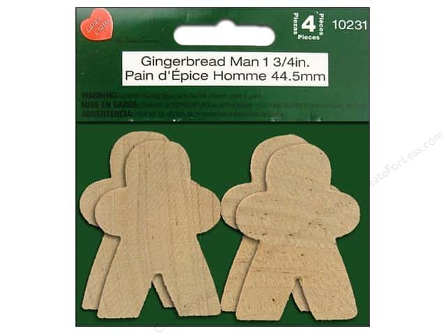 "Lara's Wood Gingerbread Man 1.75"" 4pc"
