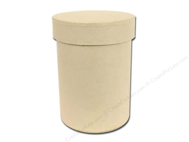 Paper Mache Round Box 3 x 4 in. Vanilla by Craft Pedlars (12 pieces)
