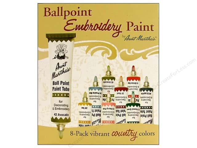 Aunt Martha's Ball Point Tube Paint Set Country 8pc