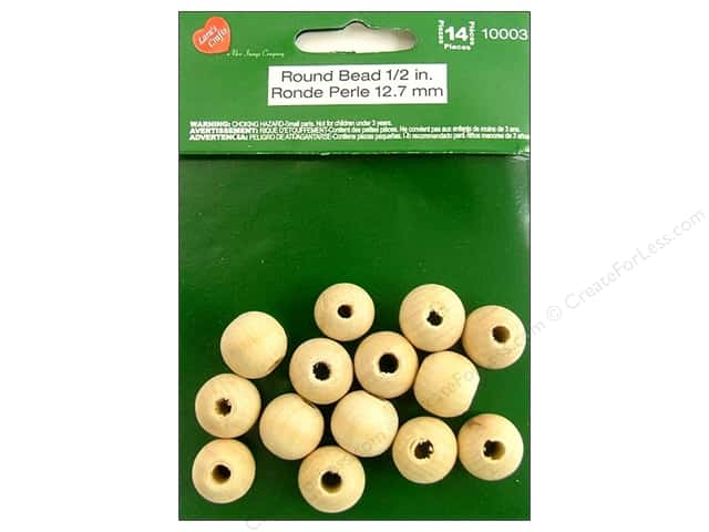 Lara's Wood Round Bead 1/2 in. 14 pc.