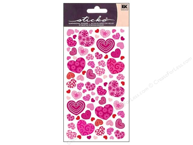 EK Sticko Stickers Colorful Patterned Hearts