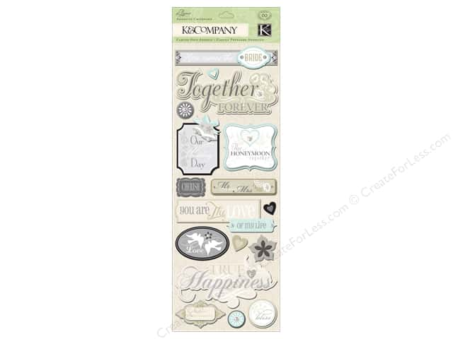 K&Company Adhesive Chipboard Elegance Words