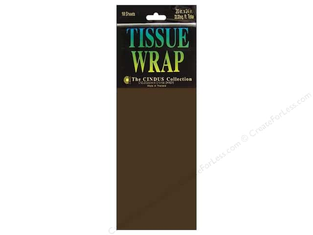 "Cindus Tissue Wrap 20""x 20"" Solid Brown 10pc"
