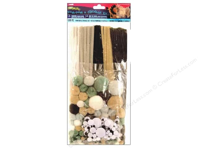 Darice Chenille Stems & Pom Pom Kit Animal 300pc