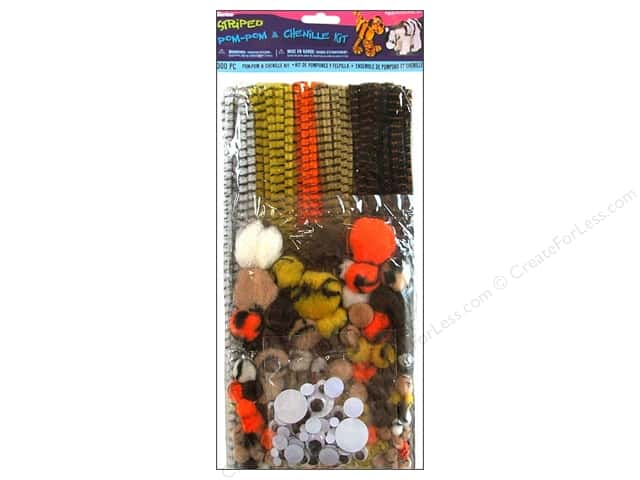 Darice Chenille Stems & Pom Pom Kit Striped 300pc