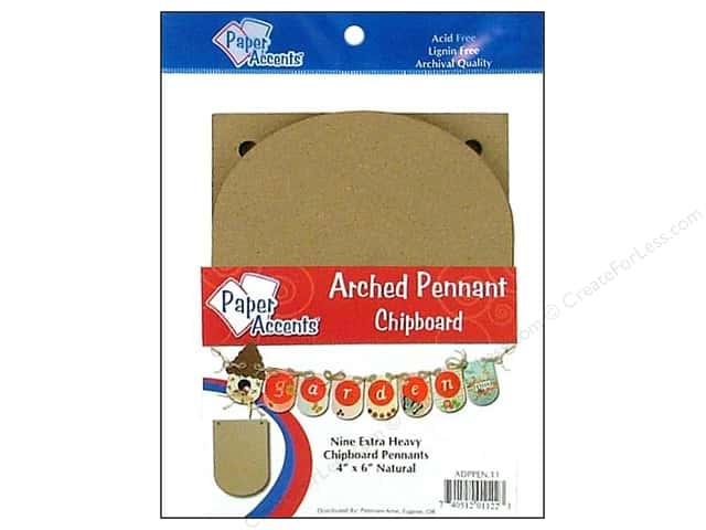 Paper Accents Chipboard Pennants 4 x 6 in. Arched 9 pc. Kraft