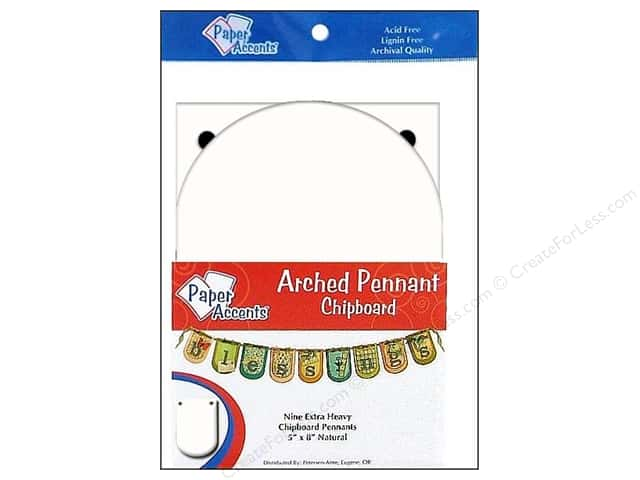 Paper Accents Chipboard Pennants 5 x 9 in. Arched 9 pc. White