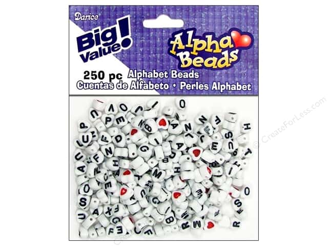 Darice Beads 7mm Alpha Heart Assorted/Black Letters 250pc