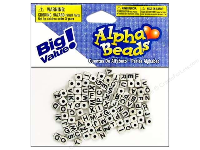 Darice Beads 5mm Alpha Cube White/Black Letters 104pc