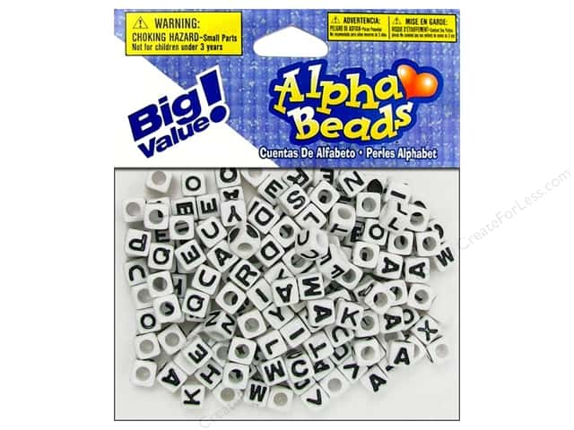 Darice Beads 6mm Alpha Cube White/Assorted Letters 160pc