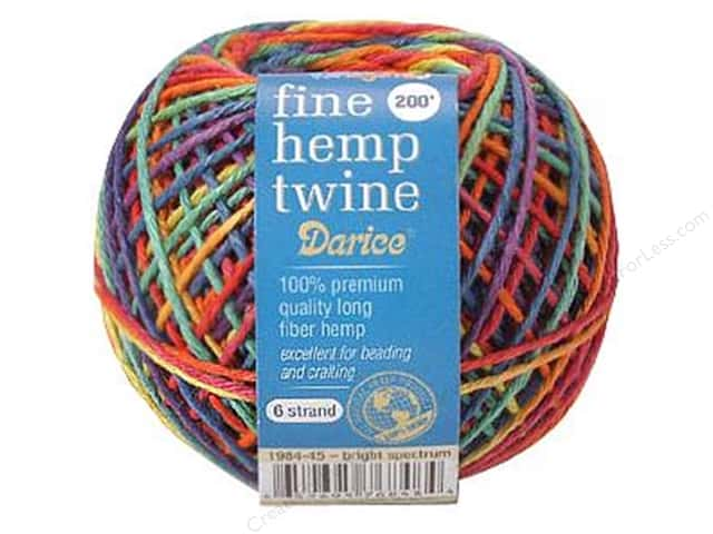 Darice Hemp Twine Fine 6 Strand 200 ft. Bright