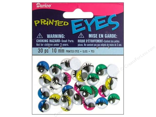 Googly Eyes by Darice Paste-On 10 mm Multi Printed 30 pc.