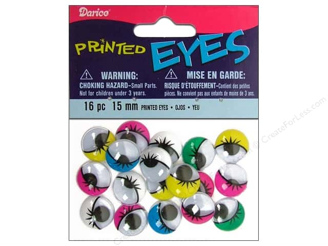 Googly Eyes by Darice Paste-On 15 mm Multi Printed 16 pc.