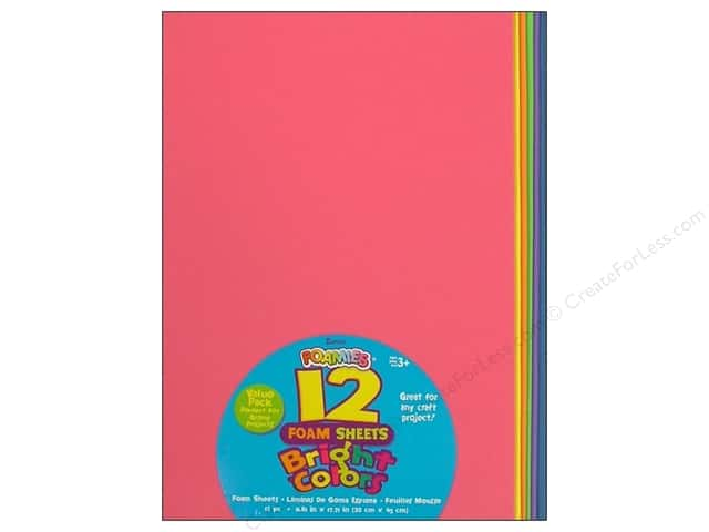 "Darice Foamies Sheet 11.81""x 17.71"" Value Pack Bright 12pc"