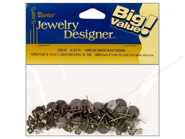 Darice Jewelry Designer Earring Earpost 10mm Flat Pad & Nut Surgical Steel 48pc