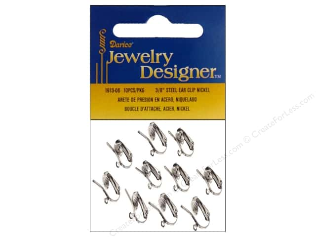 Darice Jewelry Designer Earring Ear Clip w/Loop Steel Plated Nickel 10pc