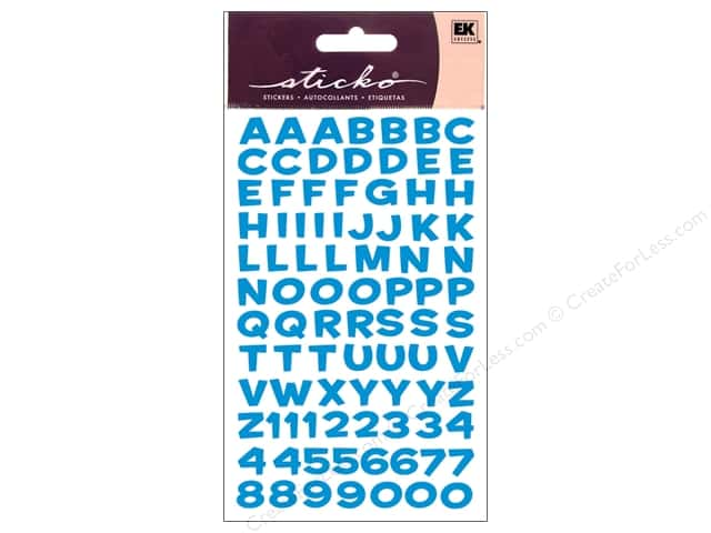 EK Sticko Alphabet Stickers Funhouse Metallic Blue