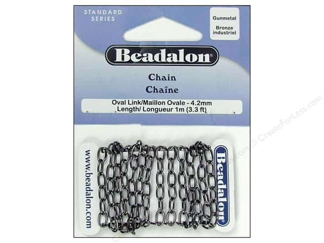 Beadalon Oval Link Chain 4.2 mm (.163 in.) Gunmetal 1 M (3.28 ft.)