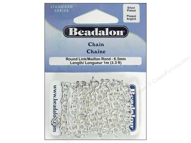 Beadalon Round Link Chain 6.5 mm (.258 in.) Silver Plated 1 m (3.28 ft.)