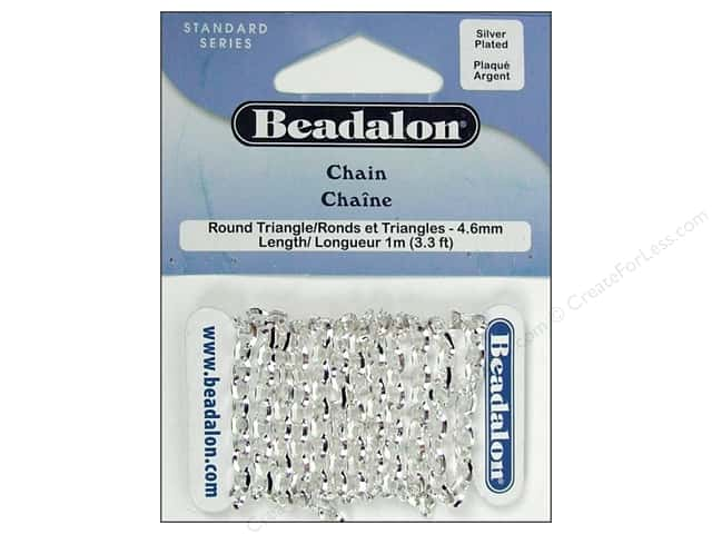 Beadalon Round Triangle Chain 4.6 mm (.181 in.) Silver Plated 1 m (3.28 ft.)