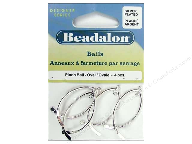 Beadalon Pinch Bail Oval Silver Plated 4 pc.