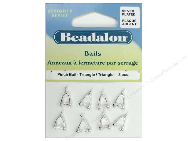 Beadalon Pinch Bail Triangle Silver Plated 8 pc.