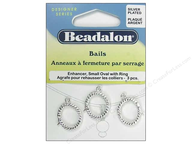 Beadalon Enhancer Bail Oval Small 19 mm Silver Plated 3 pc.