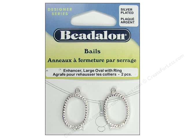 Beadalon Bails Enhancer Oval Large Silver Plate 2pc