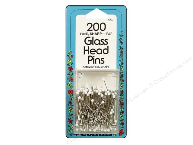 "Collins Pins Glass Head 1 3/8"" White 200pc"