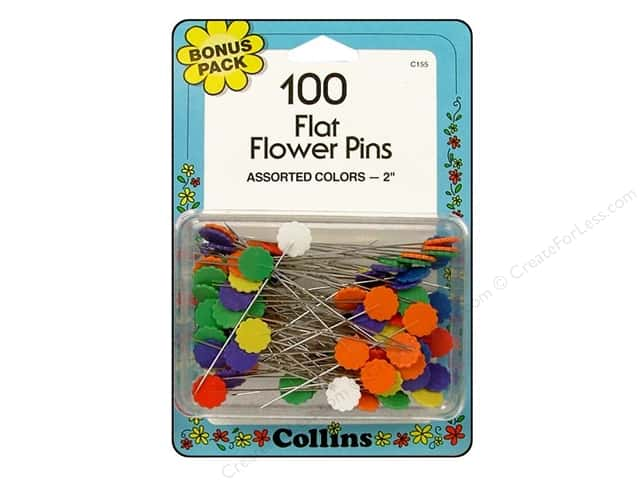 Flat Flower Pins Bonus Pack by Collins 100 pc.