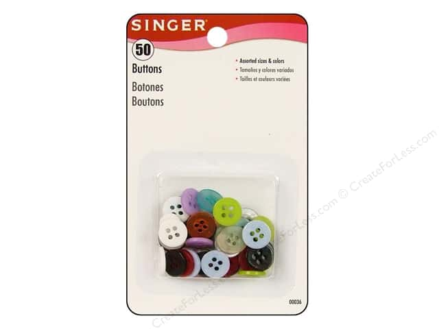 Singer Buttons Assorted Colors & Sizes 50pc