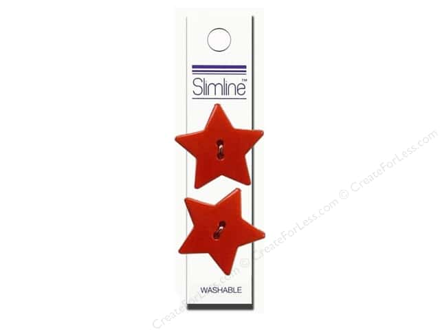 "Slimline Buttons 1 1/8"" Star Red 2pc"