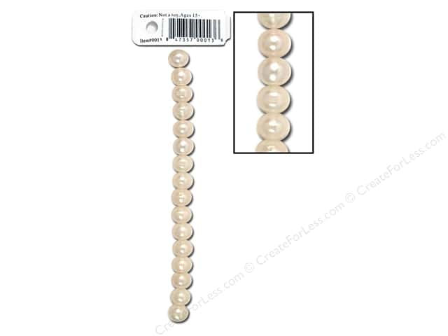 "Sweet Beads EWC Bead 3.75"" Fresh Water Pearls 7-8mm Round White"