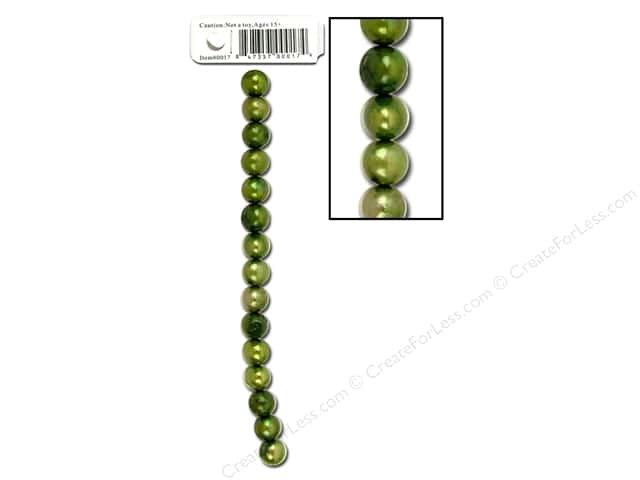 "Sweet Beads EWC Bead 3.75"" Fresh Water Pearls 7-8mm Round Green"