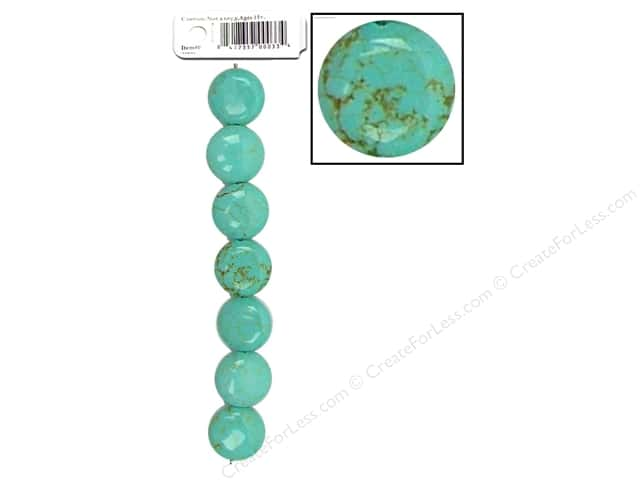 Sweet Beads EWC Bead Blue Turquoise 14mm Lentil 7pc