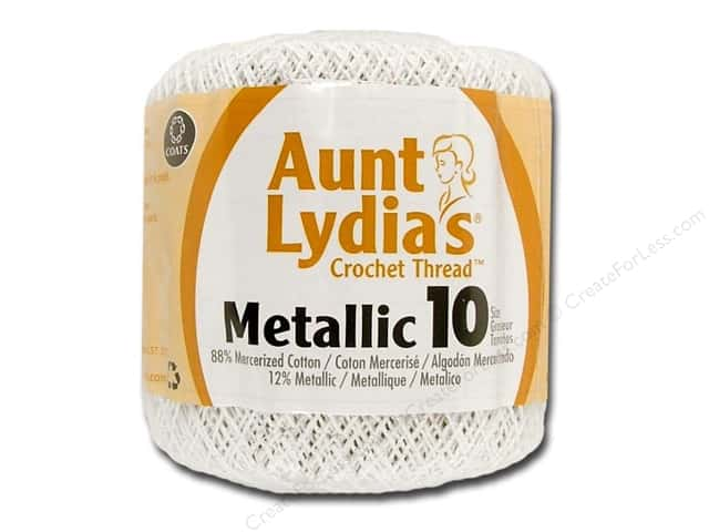 Aunt Lydia's Metallic Classic Cotton Crochet Thread Size 10 100 yd. White/Pearl