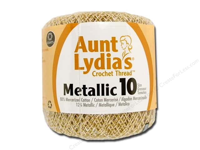 Aunt Lydia's Metallic Classic Cotton Crochet Thread Size 10 Natural/Gold