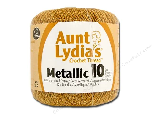 Aunt Lydia's Metallic Classic Cotton Crochet Thread Size 10 Gold/Gold