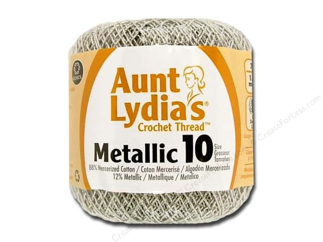 Aunt Lydia's Metallic Classic Cotton Crochet Thread Size 10 Silver/Silver