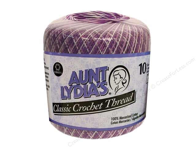 Aunt Lydia's Classic Cotton Crochet Thread Size 10 Shaded Purples