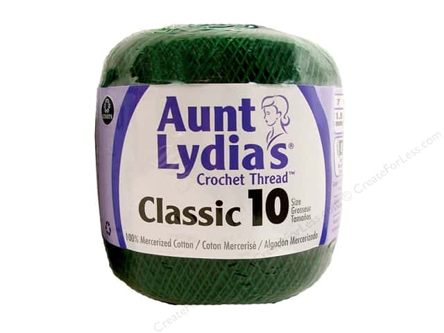 Aunt Lydia's Classic Cotton Crochet Thread Size 10 Forest Green