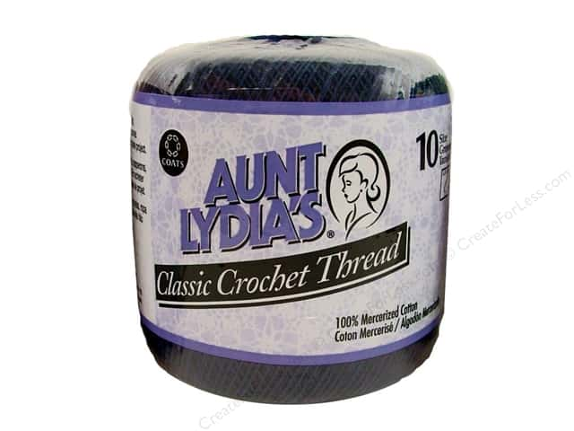 Aunt Lydia's Classic Cotton Crochet Thread Size 10 Navy